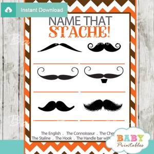 orange name that mustache baby shower game printable