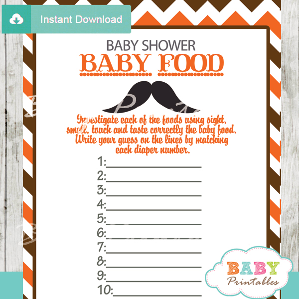 mustache printable baby shower games blind tasting baby food