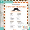 mustache printable baby shower games what's in your purse