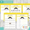 yellow grey printable mustache baby shower fun games ideas