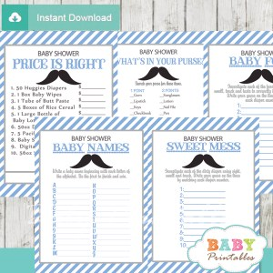 printable blue gray mustache baby shower games package
