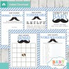 blue grey printable mustache baby shower fun games ideas