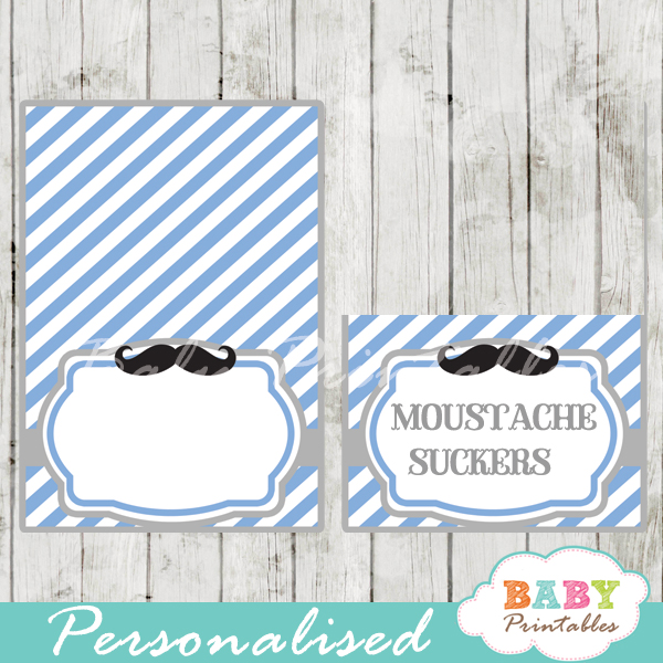 blue printable mustache food labels