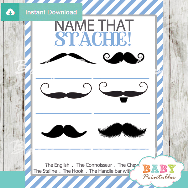 blue name that mustache baby shower game printable