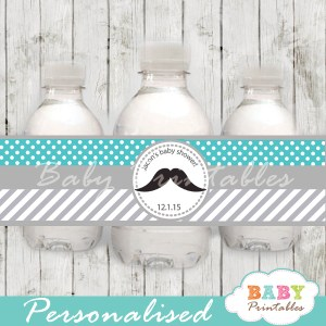 turquoise custom diy Printable Mustache Water Bottle Labels