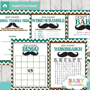 blue brown printable mustache baby shower fun games ideas