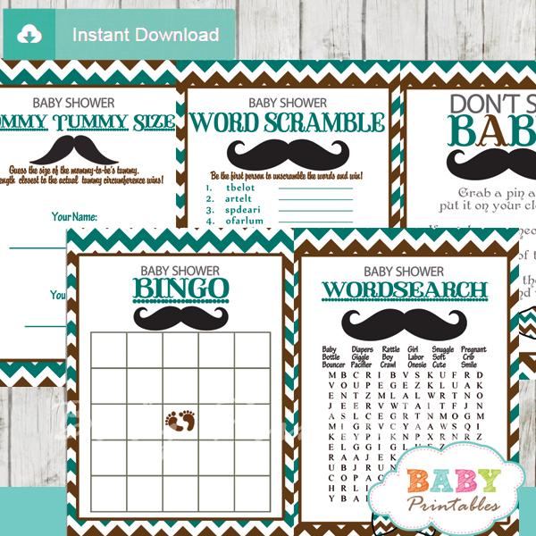 blue brown printable mustache baby shower fun games ideas