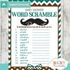 mustache printable word scramble baby shower games