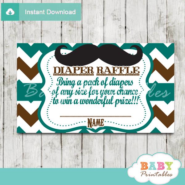printable mustache blue brown chevron diaper raffle tickets