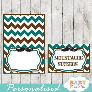 blue brown printable mustache food labels