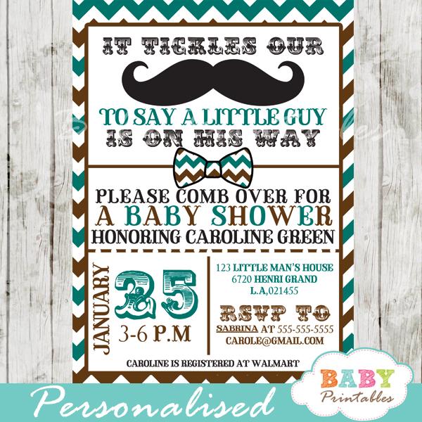 Blue Brown Mustache Baby Shower Invitation Card D115
