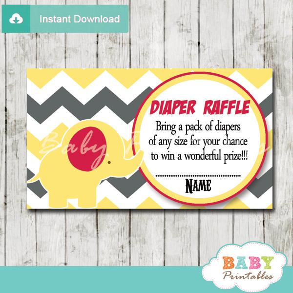 yellow elephant chevron diaper raffle tickets pdf