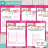 hot pink printable owl baby shower fun games ideas