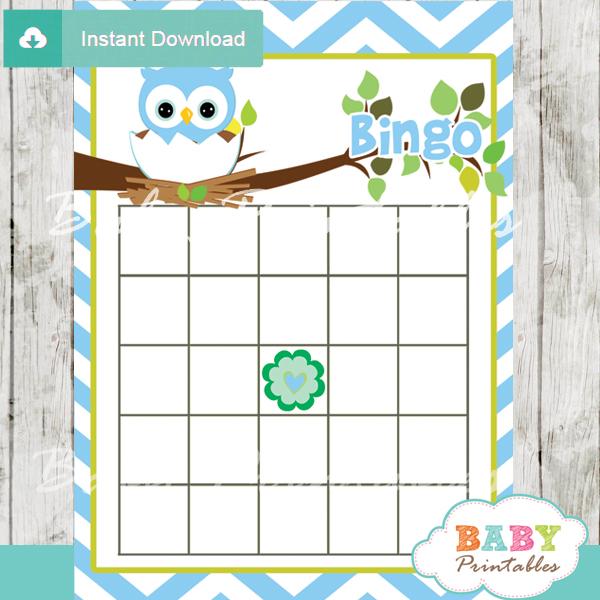 printable owl bingo baby shower games cards