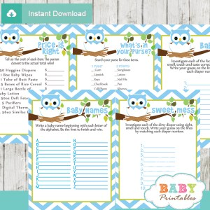 blue printable owl baby shower fun games ideas