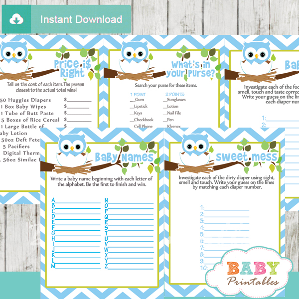 Blue Printable Owl Baby Shower Fun Games Ideas