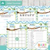 printable blue owl baby shower games package