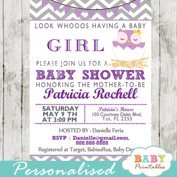 Purple owl baby shower invitation card d122 baby printables personalized lavender purple owl baby shower invitation printable filmwisefo Gallery