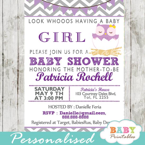 Purple Owl Baby Shower Invitation Card D122
