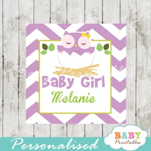 purple owl printable custom baby shower gift labels