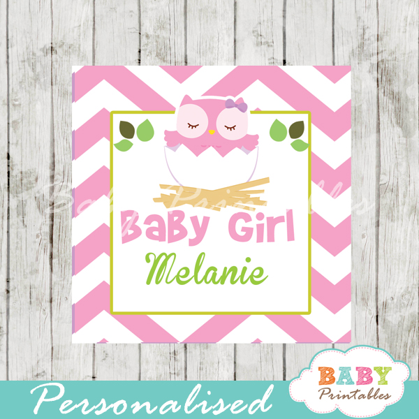 pink owl printable custom baby shower gift labels