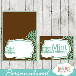 tiffany blue brown owl printable food label cards for baby shower