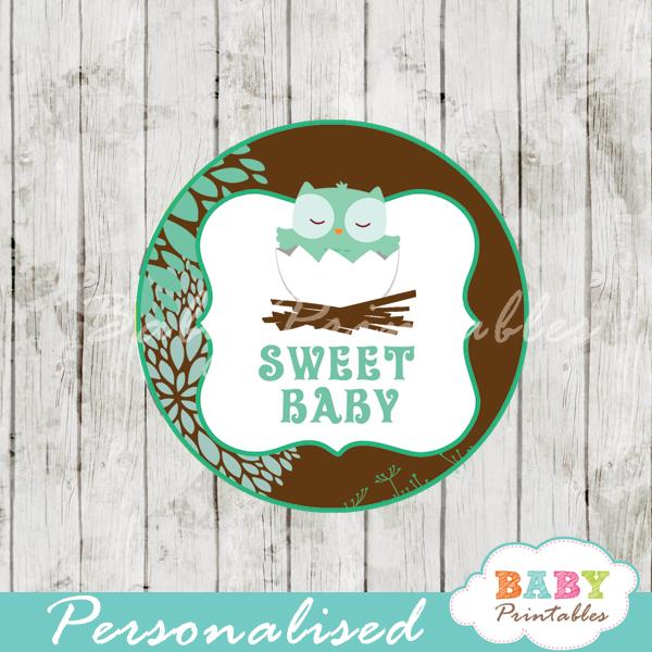 printable tiffany blue owl custom baby shower gift tags