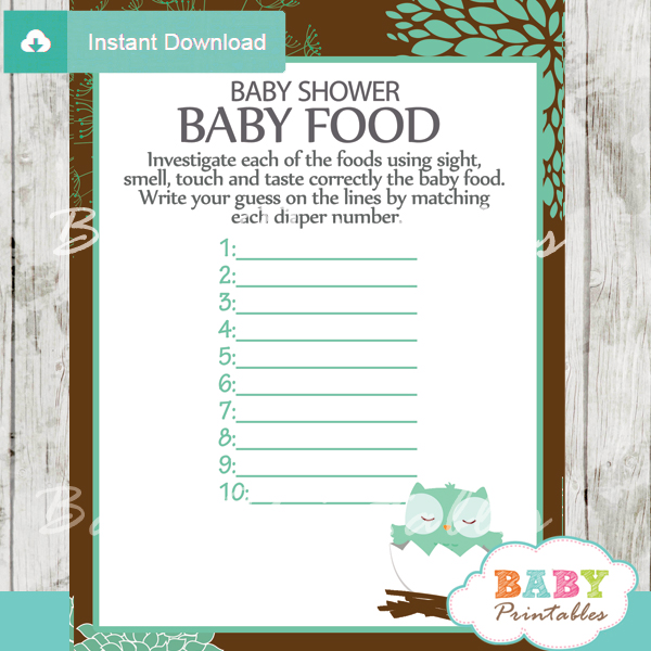 owl printable baby shower games blind tasting baby food