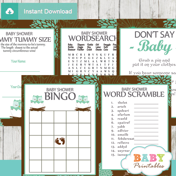 printable tiffany blue brown owl baby shower games package