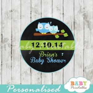 custom printable blue owl chalkboard baby shower gift tags