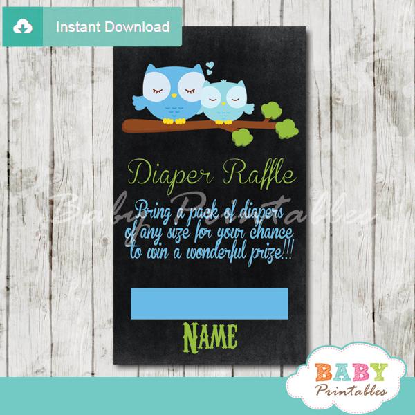 blue owl chalkboard printable diaper raffle tickets cards