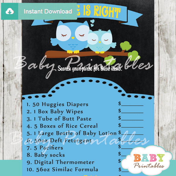 owl Price is Right Baby Shower Game printable pdf