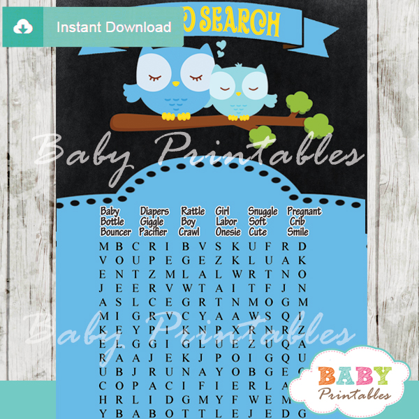 owl printable baby shower word search puzzles