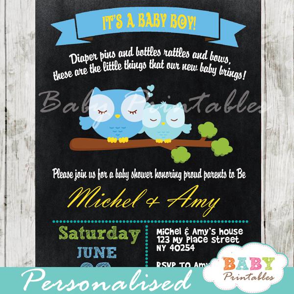personalized baby boy blue owl chalkboard baby shower invitation printable