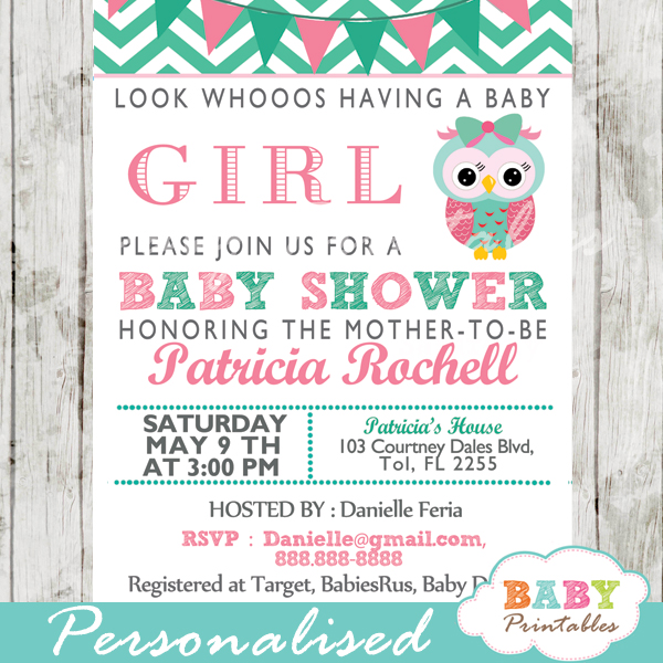 Mint Green Pink Owl Baby Shower Invitation Card D126