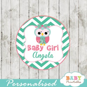 custom printable mint green and pink owl baby shower gift tags