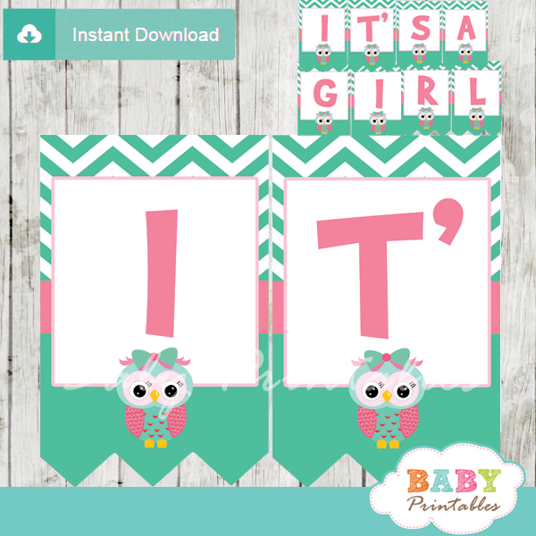 printable pink and mint green owl personalized baby shower banner