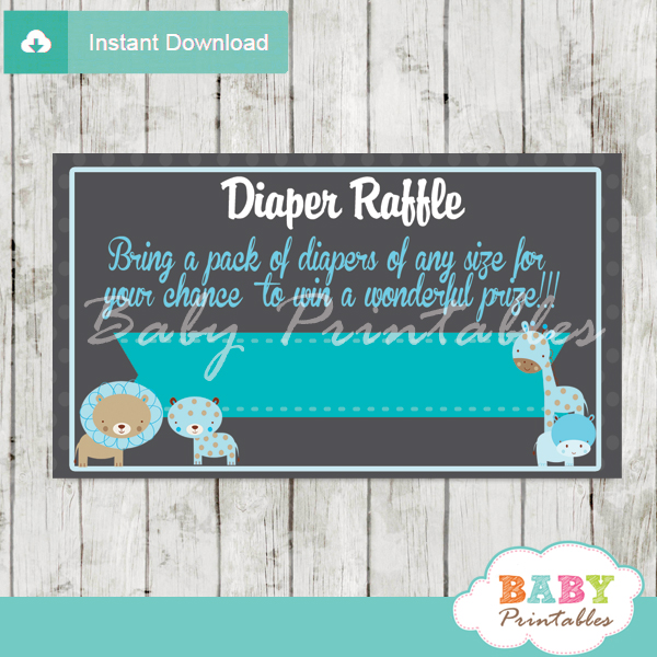 blue jungle safari printable diaper raffle tickets cards