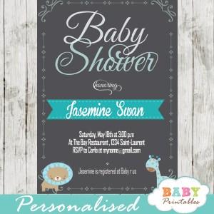personalized baby boy blue jungle safari chalkboard baby shower invitation printable