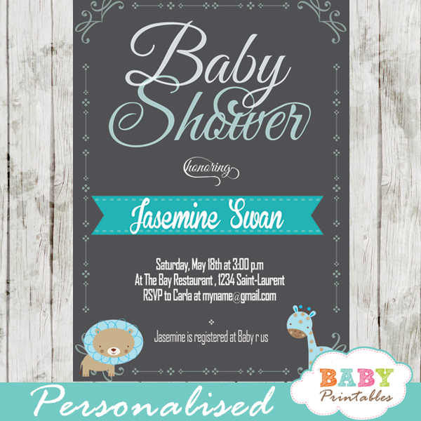 personalized baby boy blue jungle safari chalkboard baby shower invitation printable
