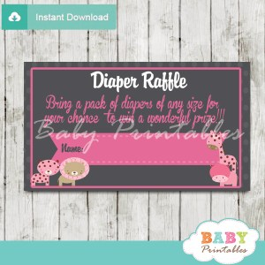 pink jungle safari printable diaper raffle tickets cards