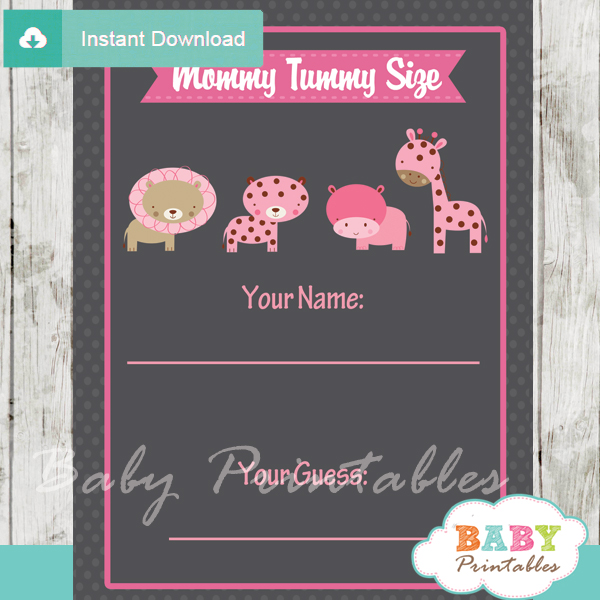 jungle animals printable Baby Shower Game Guess the Mommy's Tummy Size