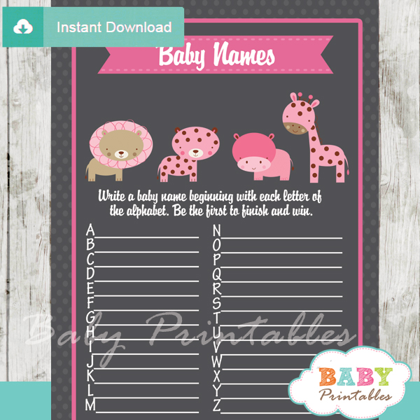 jungle animals printable Baby Name Race Baby Shower Game