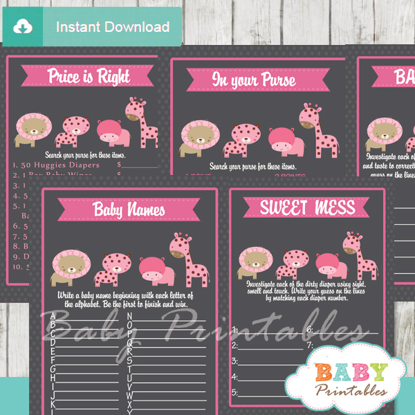 baby girl pink printable jungle animals baby shower fun games ideas
