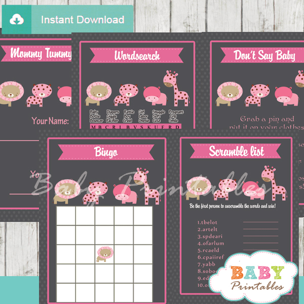 printable pink wild safari baby shower games package