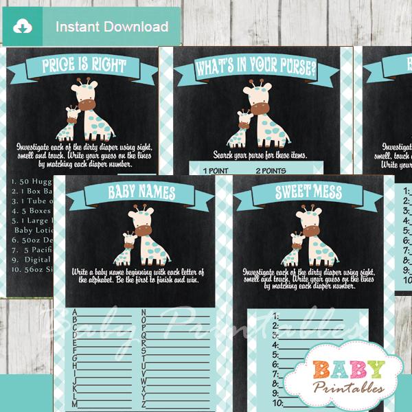 baby boy blue printable safari giraffe baby shower fun games ideas