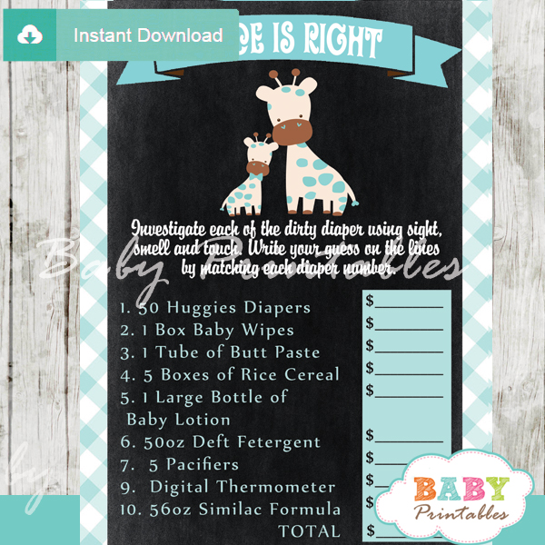 giraffe safari Price is Right Baby Shower Game printable pdf