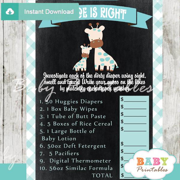 giraffe safari Price is Right Baby Shower Game printable pdf