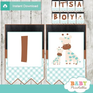 printable blue giraffe personalized baby shower boy banner