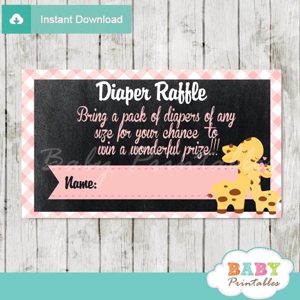 printable pink giraffe diaper raffle tickets girl baby shower